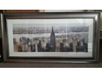 Manhattan skyline painting with gunmetal coloured frame