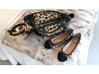 New boxed leopard/pony skin ballet pumps+matching handbag and belt