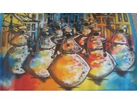This vibrant oil painting is by a Brazilian artist in Salvador. It is oil on canvas.
