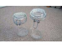 Two Kilner style glass storage jars