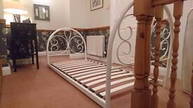 Cream metal bed frame, single