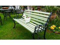"Refurbished Vintage Garden Bench Cast Iron ends Wood slats 2 tone Green 46"" long"