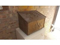 Log box with brass decoration