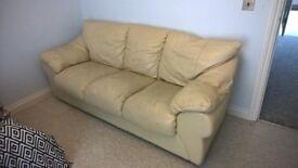 Cream/beige leather sofa
