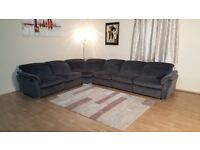 Ex-display Mustang grey fabric electric recliner large corner sofa