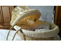 Moses basket, mattress, stand and sheets