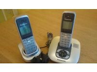 PANASONIC KX-TG6421E Cordless Phone SILVER with Answering Machine Duo Handset