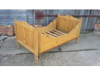 Vintage Pine 3ft Sleigh Bed With Slats