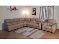 Unique HTL cream leather electric recliner corner sofa and armchair
