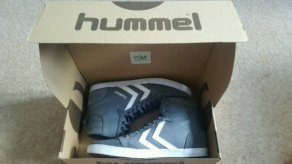 New Mens Grey Hummel Slimmer Stadil High UK 9in Southampton, HampshireGumtree - Brand New in Box. Grey canvas high tops from Hummel. Rear pull on tab with a slightly padded collar for extra comfort and support. Great boots, perfect for winter. Grab yourself a bargain