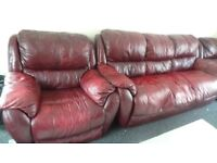Brown real leather sofa, 3 seater and 2x arm chairs