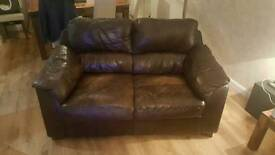 3 seater, 2 seater leather sofas and foot stool