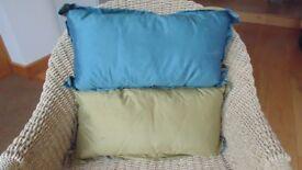Brand new unused pair of cushions in shot silk.