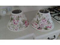 Pair of floral print lamp shades