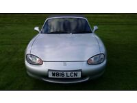 Racing silver Mazda MX5 1.8 (2000), 12 months mot
