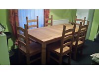 Corona Mexican 6' dining table & 6 Chairs/ Distressed Waxed Pine by Seconique