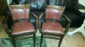 Solid oak chairs with oxblood leather