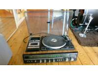 Vintage record player - turntable, fm/am radio, casette player