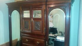 late victorian mahogany 4 draw mirrored doors wardrobe