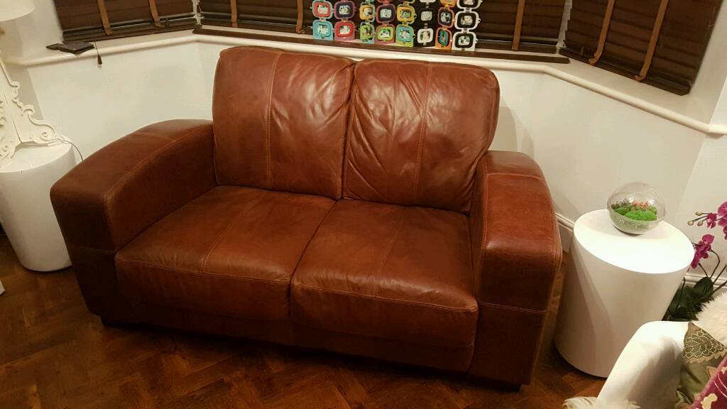 Sofa, brown leather excellent condition