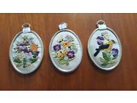 Three Stitched Floral Minatures in Metal Frames in Good Condition