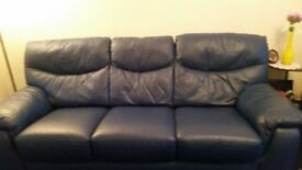 BLUE LEATHER SOFA AND STORAGE FOOTSTOOL