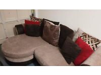 Chaise 4 seater sofa beige material with brown leather trim