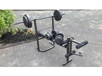 PRO FITNESS BENCH & 50KG WEIGHTS & LONG BAR & DUMBBELLS