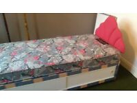 Single divan bed unmarked, with mattress and headboard, only £25 inc. local transport. 07811927357