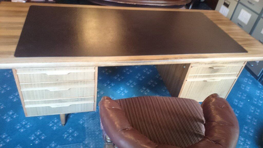 Reduced 60s 70s Mcintosh Style Mid Century Modern Teak Office Desk