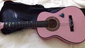 """34"""" Pink Wooden Guitar"""