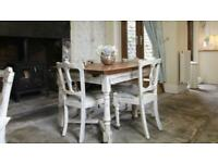 Shabby Chic Distressed Vintage Dining Table And 6 Antique Chairs