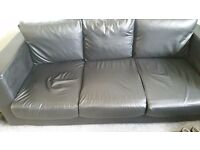 3+2black bonded leather sofa less that 2 year old