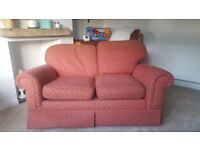 2 seater red M&S sofa