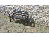 Old vintage Black wooden painted garden bench