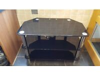 "32"" Black glass and Chrome TV corner stand with 3 shelves - Collection only"