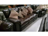 Large leather recliner 3 piece suite can deliver 07808222995