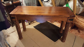 Dark wood console table and matching coffee table