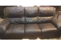 Large Real Leather Sofa.