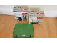 2x BELKIN WIRELESS ROUTERS AND LAPTOP COOLER PAD