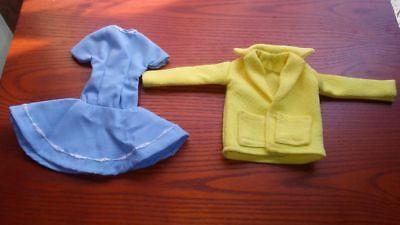 *RARE LOT/2 HANDMADE VTG DOLL CLOTHES,50s/60s,COAT W/POCKETS,BLU DRESS,BARBIE Sz