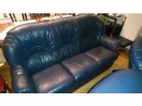 3piece Blue leather couch