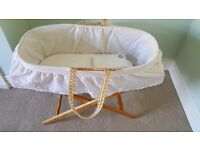 Moses basket & brand new mattress & sheets