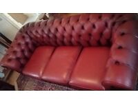 Leather chesterfield 3 x 1 x wimgback chair and footstool