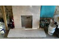 Fire surround marble hearth and back