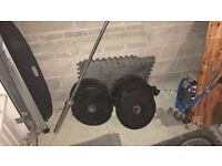 Olympic Barbell (7ft) & 110kg BodyMax Bumper Weight plates