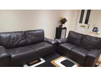 Dark Brown Leather Sofas 3 Seater Sofa Bed & 2 Seater