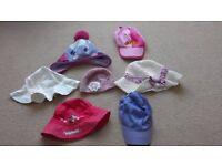 7 different children's hats/caps. From Monsoon, H&M, Debenhams