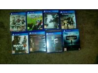 8 PS4 games 100 pond for all 8 *no console 8*