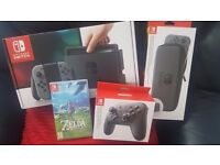 Nintendo Switch (Grey) + Zelda/Pro Controller/Screen Protector/Carry Case